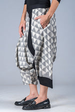 White and Grey Ikat Triangles - Turkish Mid Length Pant