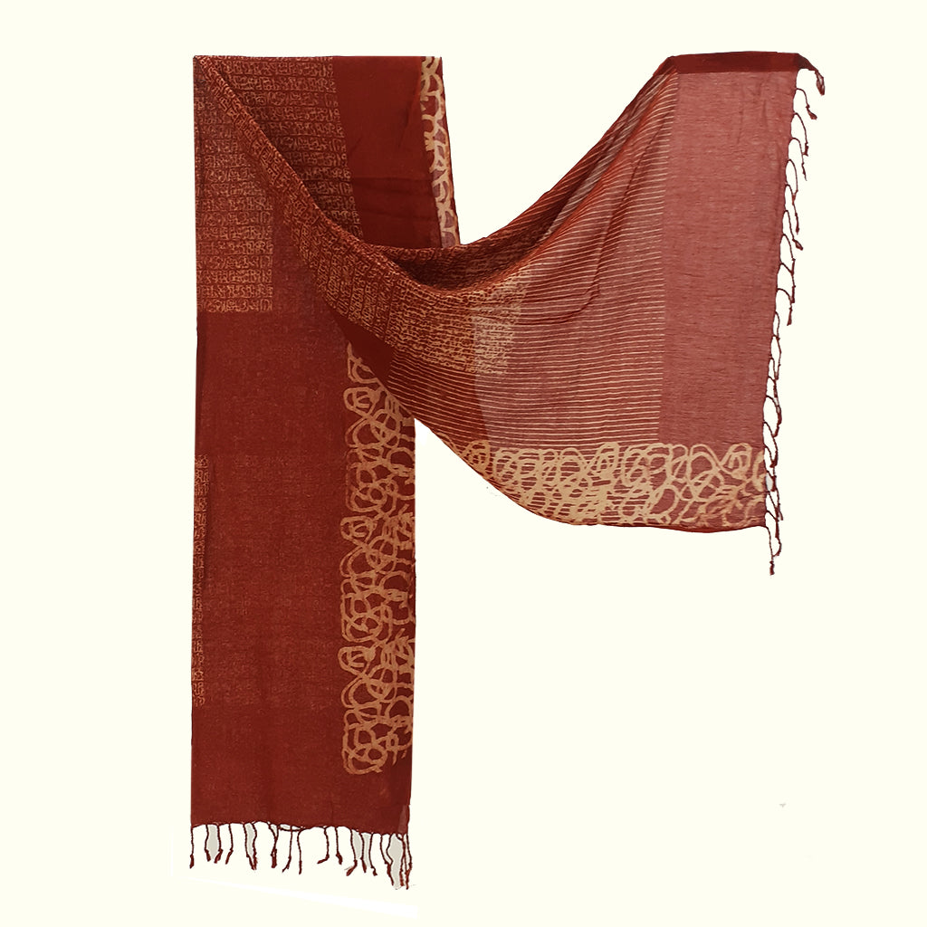 Natural Dyed Organic cotton Hand Block printed Scarf - ABIR - Upasana Design Studio