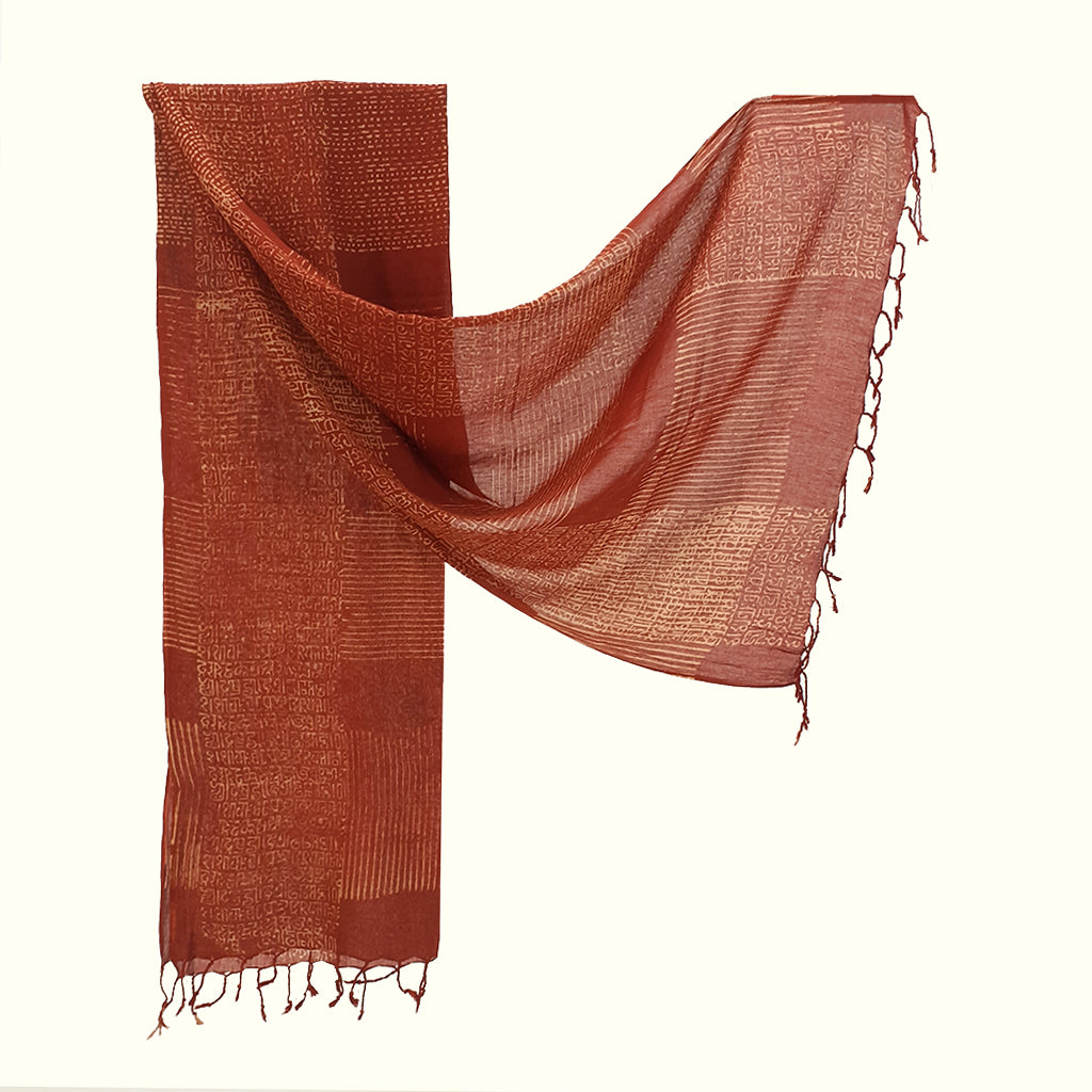 Natural Dyed Organic cotton Hand Block printed Scarf - ABELLA - Upasana Design Studio