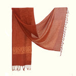 Natural Dyed Organic Cotton Hand Block Printed Scarf - ABRIL - Upasana Design Studio
