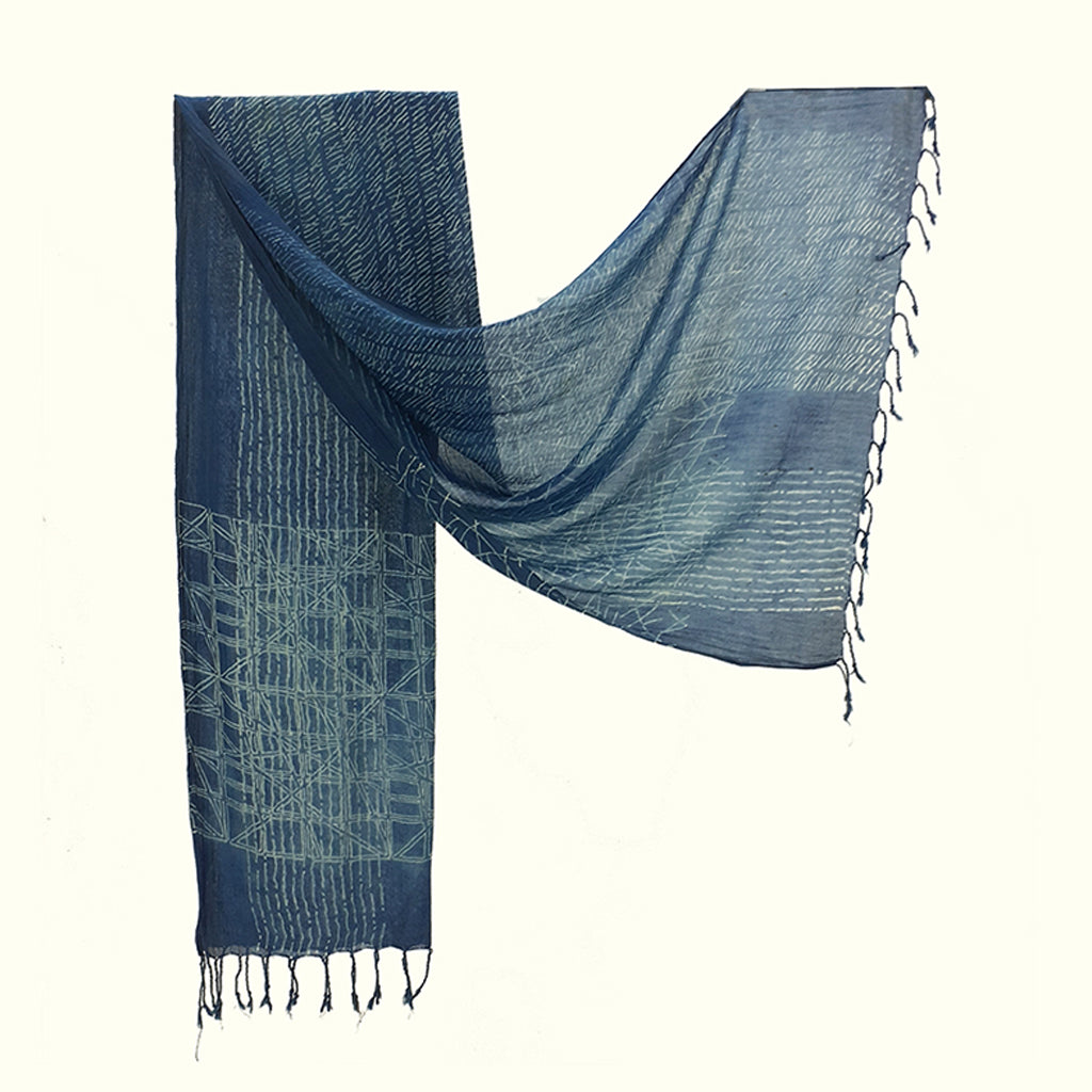 Natural Dyed Organic cotton Hand Block printed Scarf - ACADIA