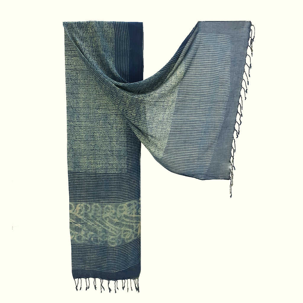 Natural Dyed Organic cotton Hand Block printed Scarf - ADALEE