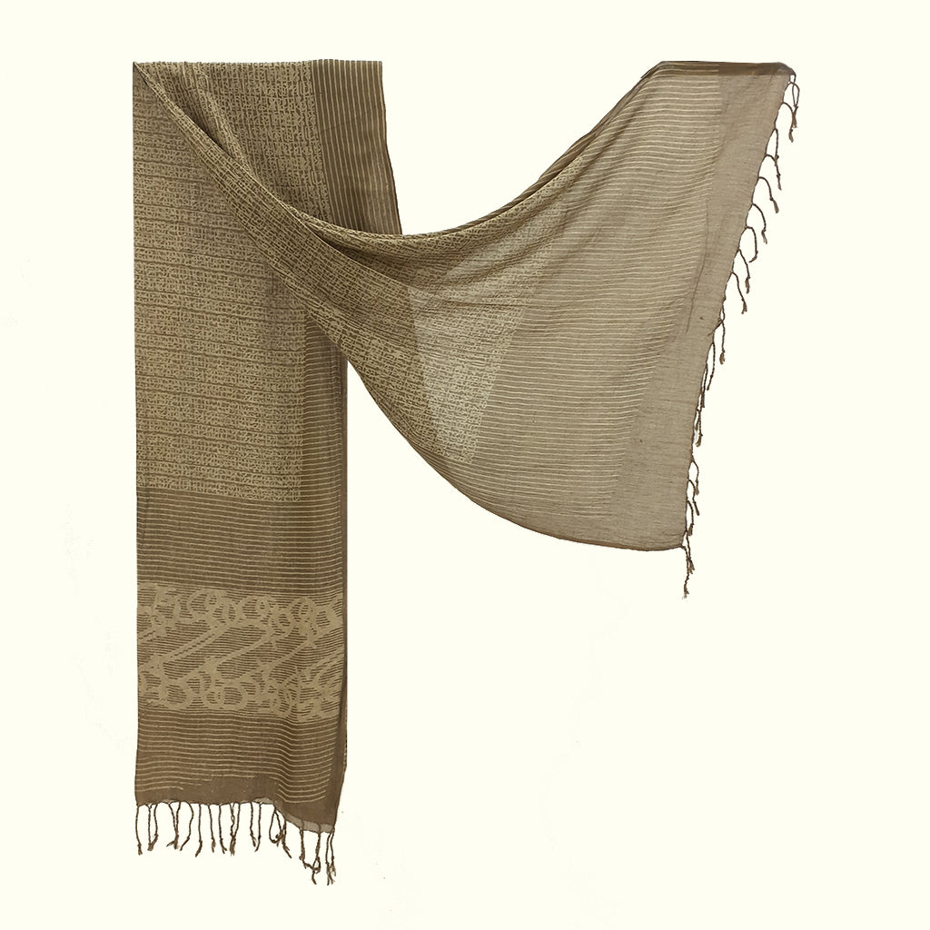 Natural Dyed Organic cotton Hand Block printed Scarf - ADALEE - Upasana Design Studio