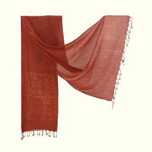 Natural Dyed Organic cotton Hand Block printed Scarf - ACADIA - Upasana Design Studio