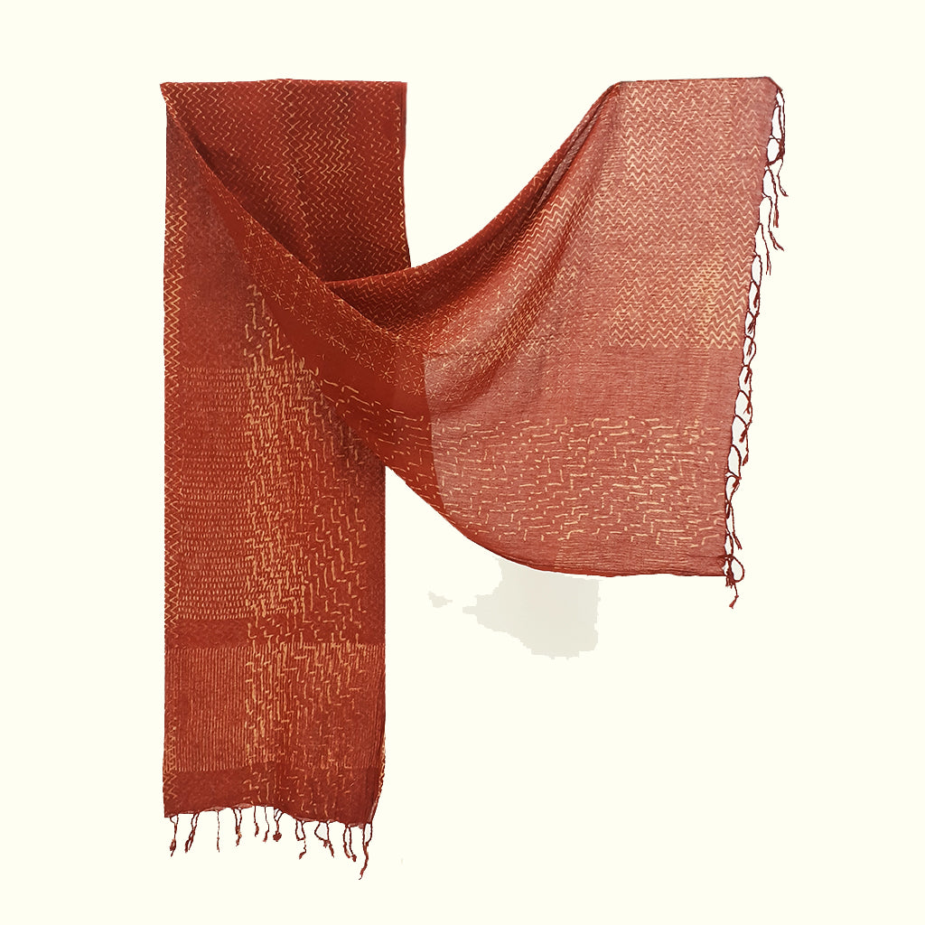 Natural Dyed Organic cotton Hand Block printed Scarf - AAROHI - Upasana Design Studio
