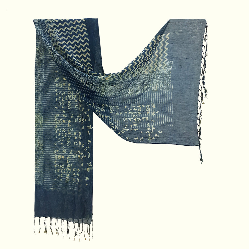 Natural Dyed Organic cotton Hand Block printed Scarf - ATIYA
