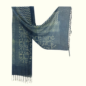 Natural Dyed Organic cotton Hand Block printed Scarf - ATIYA - Upasana Design Studio