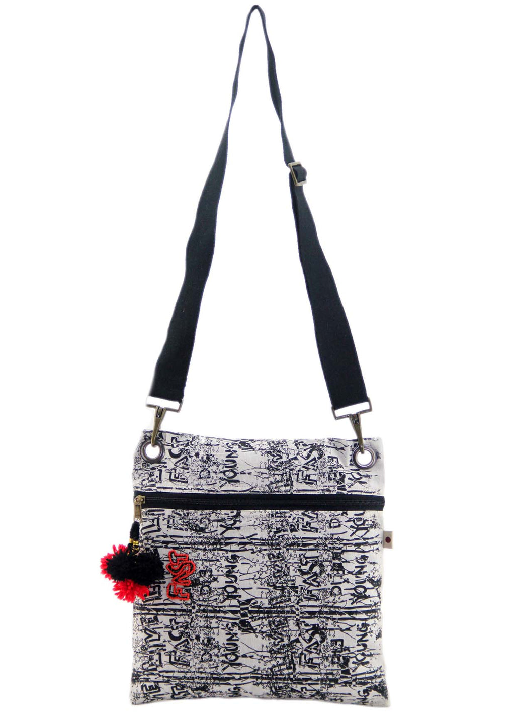 Organic cotton Doodle Sling Bag Large - VELOCE - Upasana Design Studio