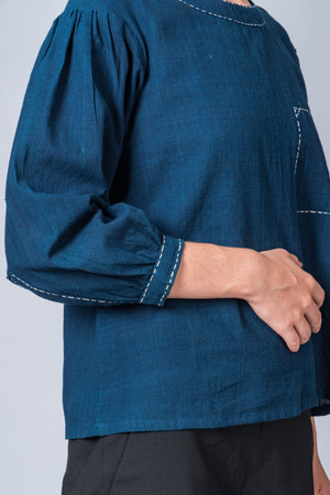 Indigo Dyed Handwoven Top - WHERE