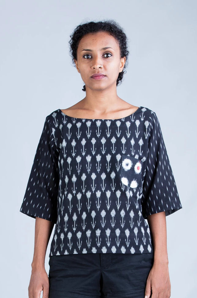 Black Ikat top - KUTTY