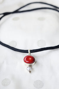 Red Coral with Natural Pearl - Silver Pendant