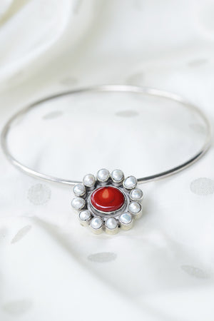 Red Coral with Twelve Pearls - Silver Pendant