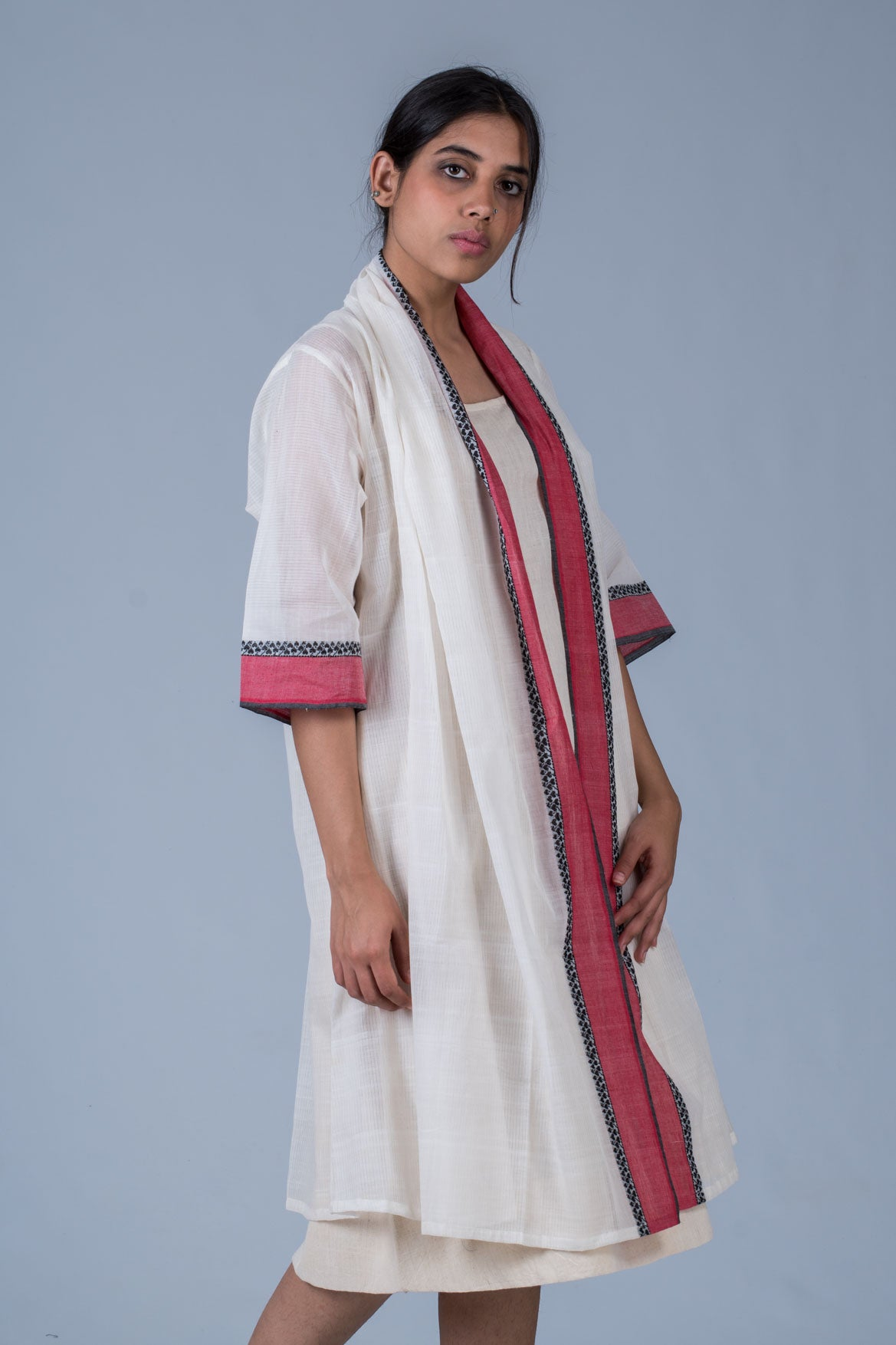 Organic Hand Spun Dress With Hand Woven  Cotton Jacket -SARALA