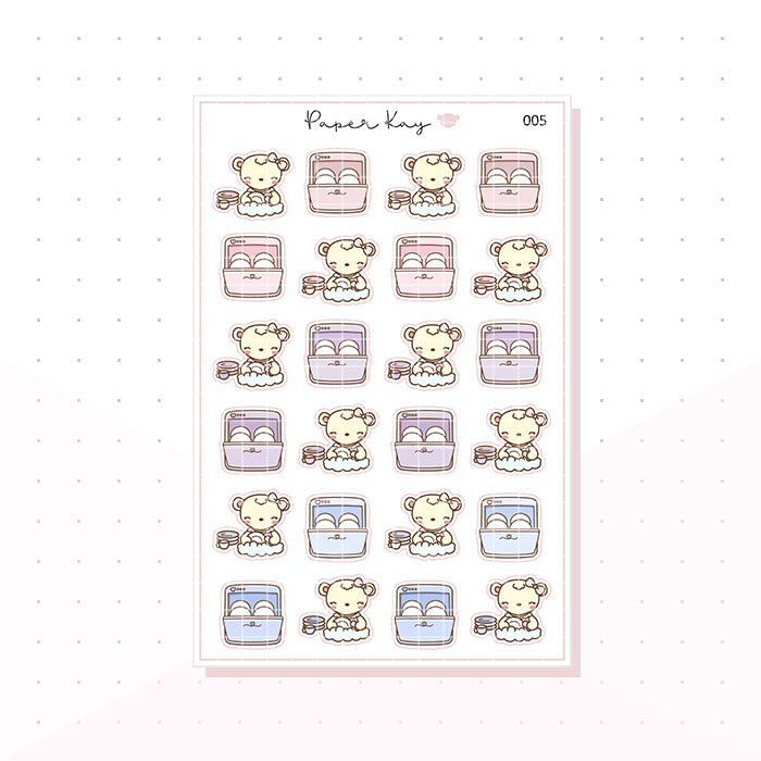 (005) Dish Washing Planner Stickers