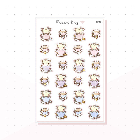 (008) Tea Cup Planner Stickers