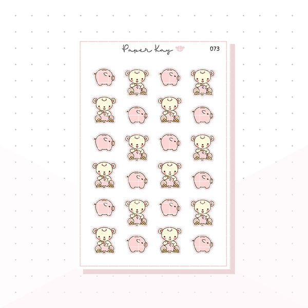 (073) Piggy Bank / Save Money Planner Stickers