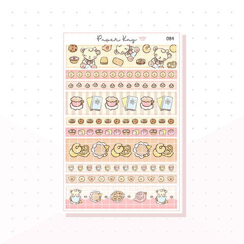 (084) Tea And Biscuits, Washi Strip Planner Stickers