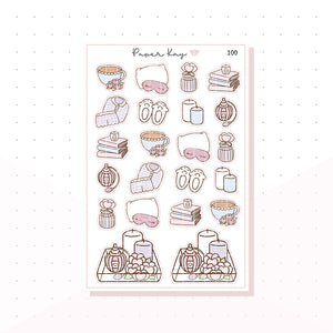 (100) Cosy / Lazy Day Deco Planner Stickers