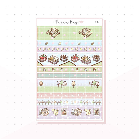 (113) Picnic in the Park, 1.5'' Wide Washi Strip Planner Stickers
