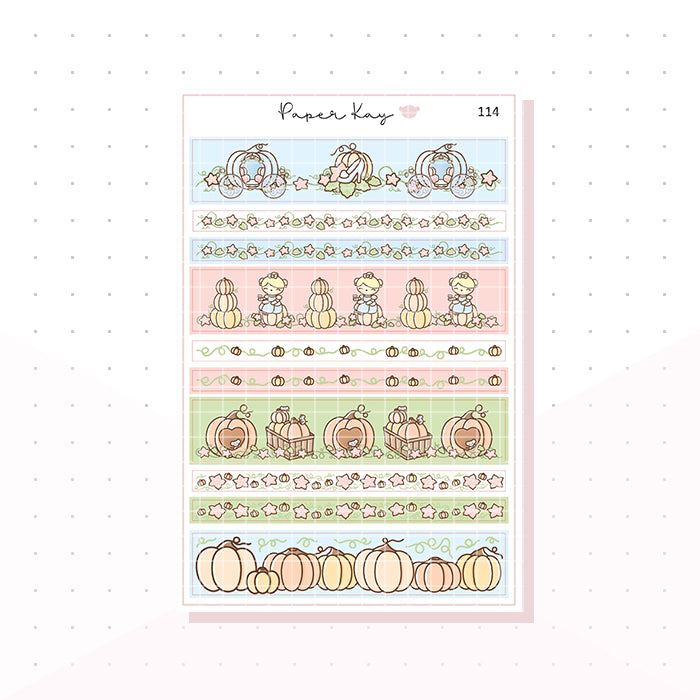 (114) Cinderella's Pumpkin Patch Washi Strips -  Planner Stickers