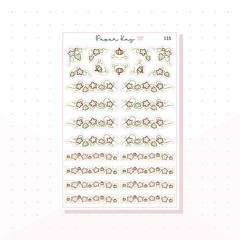 (115) Pink Flower Vine Headers - Functional Stickers