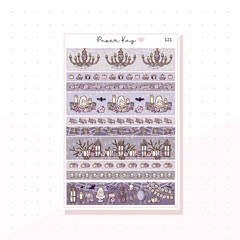 (121) Spooky House Washi Strip Planner Stickers
