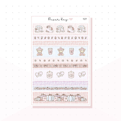 (127) Pastel Fall Washi Strips -  Planner Stickers