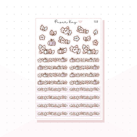 (132) Pastel Fall Flower Headers - Functional Stickers