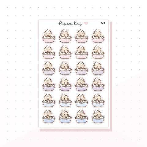 (141) Bathing Dog Planner Stickers