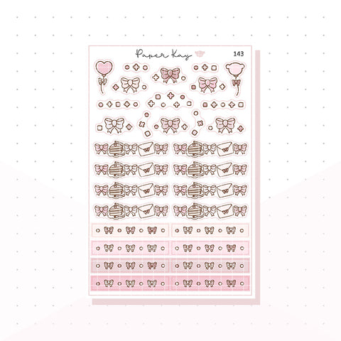 (143) Sweet Birthday Bow Celebration Headers - Functional Stickers