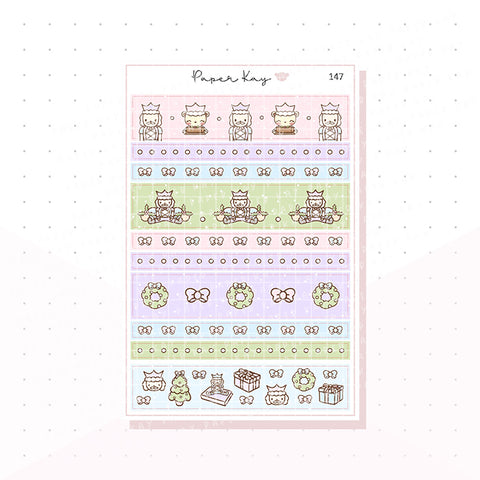 (147) Pastel Nutcracker Washi Strip Planner Stickers