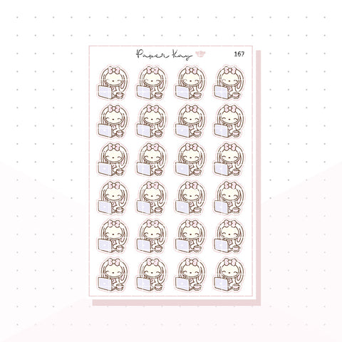 (167) Planner Bunny - Laptop/Work - Planner Stickers