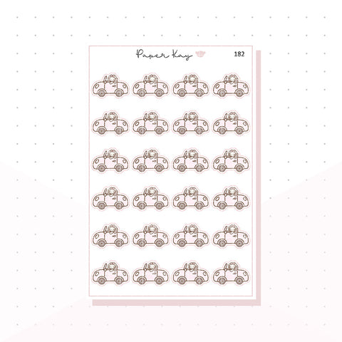 (182) Car/Travel - Planner Bunny - Planner Stickers
