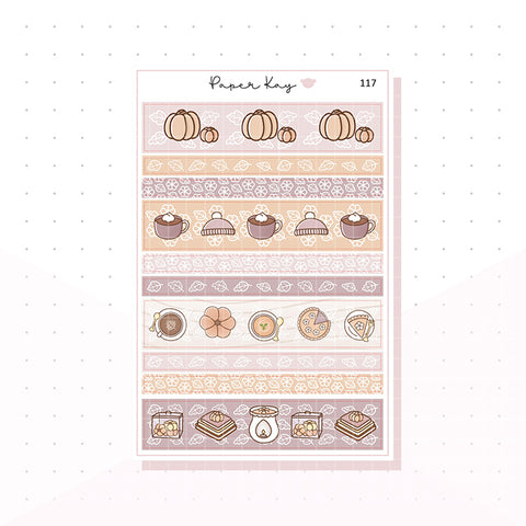 (117) Autumn Comforts Washi Strips -  Planner Stickers