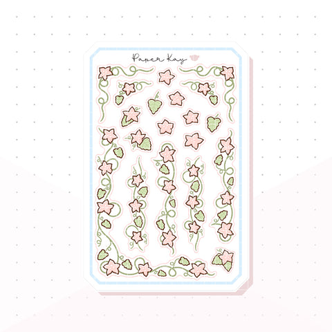 Pink Flower Vines Bujo Decorative Planner Stickers