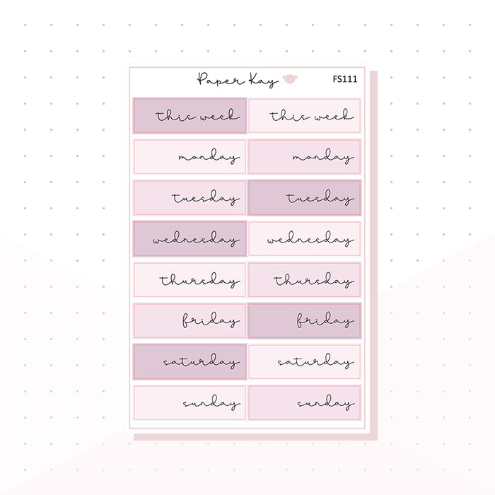 (FS111) Pastel Pink Mauve Day Covers - Functional