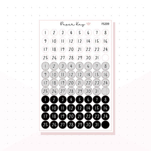 (FS209) Monochrome Date Dots - Functional