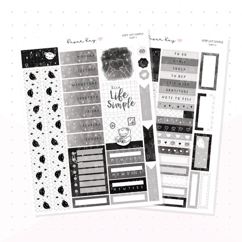 Keep Life Simple Hobonichi Cousin Kit - Planner Stickers