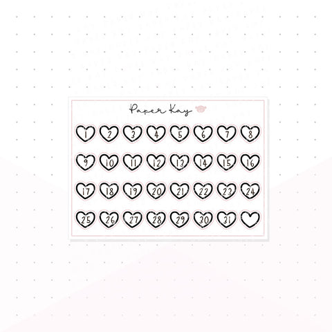 Hollow Black Heart Date Dots - Keep Life Simple - Planner Stickers
