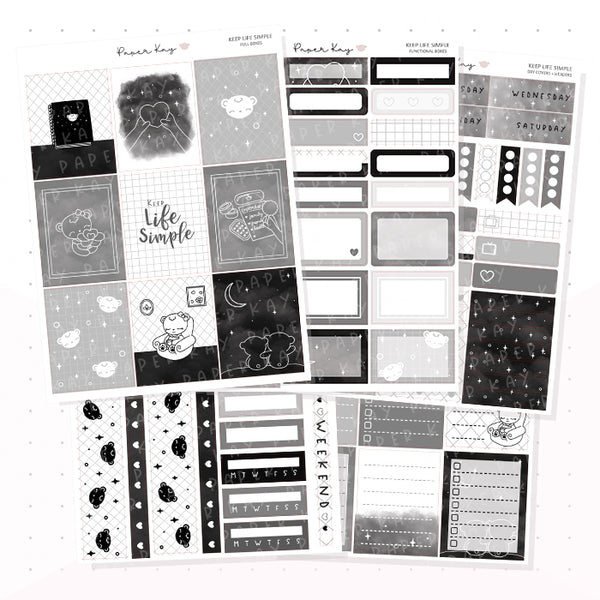 Keep Life Simple Weekly Vertical Kit - Planner Stickers