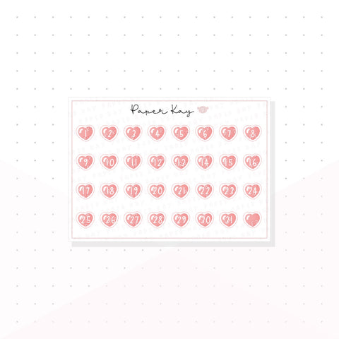 Pink Love Heart Mini Date Dots - Planner Stickers