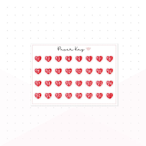 Red Love Heart Mini Date Dots - Planner Stickers