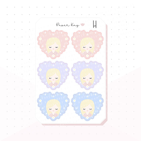Mother's Day Heart Bujo Deco Planner Stickers
