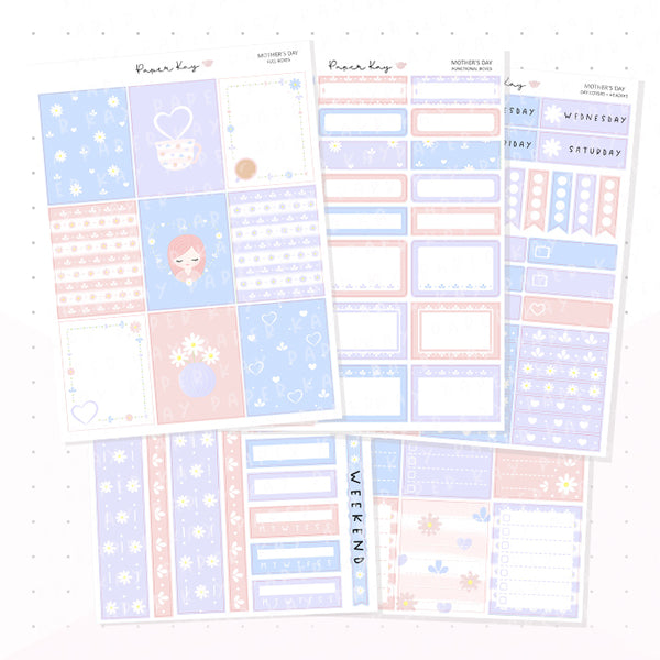 Mother's Day Weekly Vertical Kit - Planner Stickers