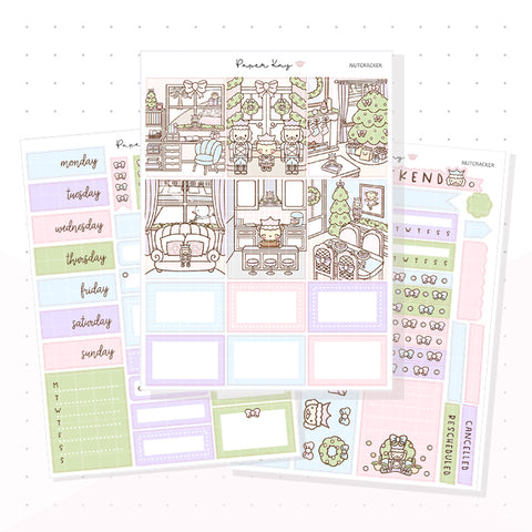 Pastel Nutcracker Weekly Vertical Kit - Planner Stickers