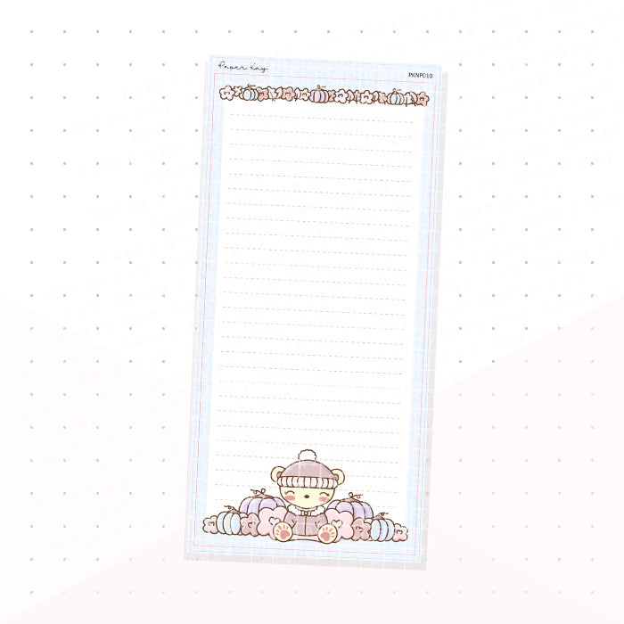 (PKNP010) Blue Pastel Fall - Lined - Hobonichi Weeks Note Page - Planner Sticker