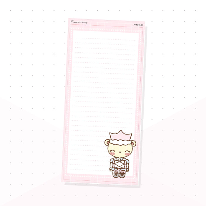 (PKNP019) Pastel Nutcracker Dot the Bear - Lined - Hobonichi Weeks Note Page - Planner Sticker