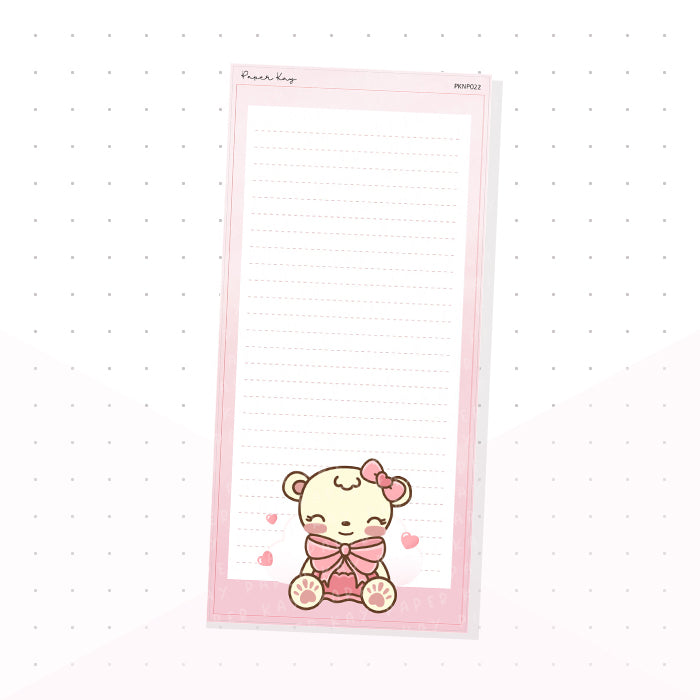 (PKNP022) Love, Dot the Bear - Lined - Hobonichi Weeks Note Page - Planner Sticker