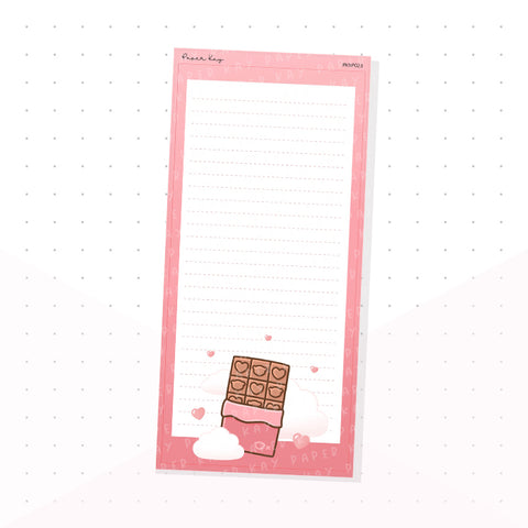 (PKNP023) Love, Chocolate Bar - Lined - Hobonichi Weeks Note Page - Planner Sticker