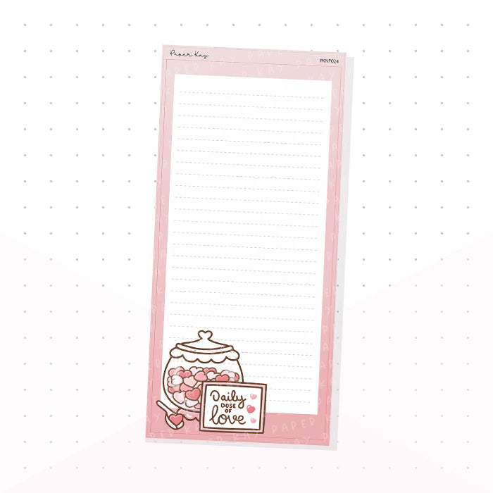 (PKNP024) Love, Daily Dose of Love - Lined - Hobonichi Weeks Note Page - Planner Sticker